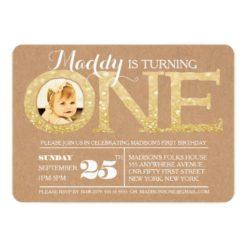 1St Birthday Gold Glitter One Photo Invitation Card