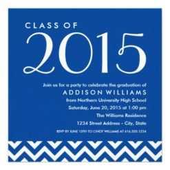 2015 Chevron Graduation Party | Custom Color Square Paper Invitation Card