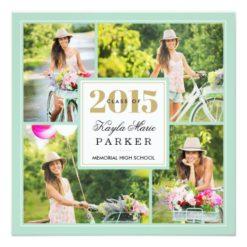 2015 Classy Photo Collage Graduation Invitation Square Invitation Card