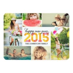 2015 Mod New Year Photo Collage Holiday Card Invitation Card