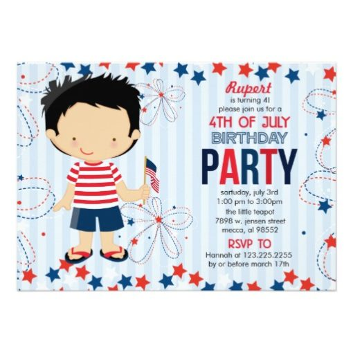 4Th Of July Birthday Party For Kids Invitation Card