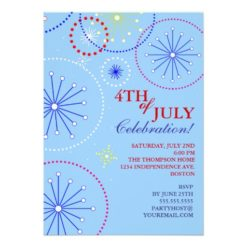 4Th Of July Fireworks Party Invitation Card