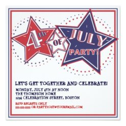 4Th Of July Red White Blue Stars Party Invitation Square Invitation Card