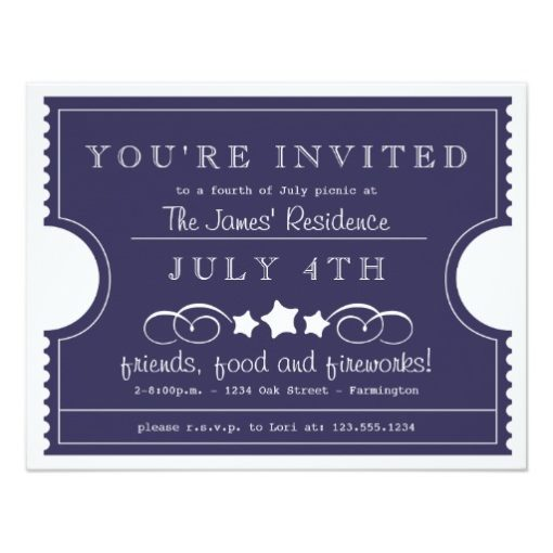 4Th Of July Ticket Invitation Card