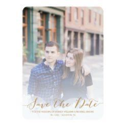 Gold Script Wedding Save The Date Invitation Card