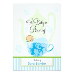 A Baby Shower Tea Party   Boy Invitation Card