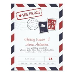 Airmail Card Save The Date Invitation Card