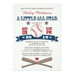 All Star Baseball Baby Shower Invitation Card