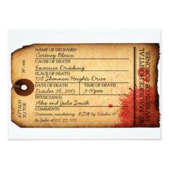 Antique Toe Tag Invitation - Morgue - Halloween Invitation Card