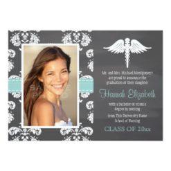 Aqua Chalkboard Nursing School Graduation Invitation Card