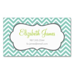 Aqua Chevron Double-Sided Standard Business Cards (Pack Of 100)
