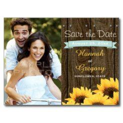Aqua Rustic Sunflower Save The Date Postcard