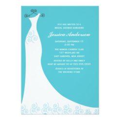 Aqua Wedding Gown Bridal Shower Invitation Card
