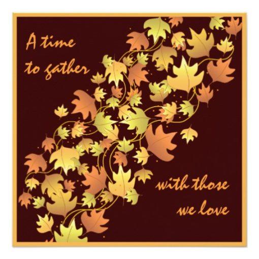 Autumn Leaves Thanksgiving Dinner Invitation Square Invitation Card