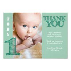 Baby Boy Green 1St Birthday Thank You Photo Card Invitation Card