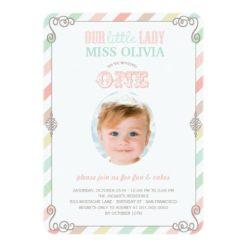Baby Girl Vintage 1St Birthday Party Photo Invitation Card
