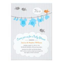 Baby Shower Boy Blue Clothesline Party Invitation Card