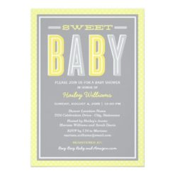 Baby Shower | Chic Type In Yellow And Gray Invitation Card