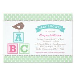 Baby Shower Invitation | Abc Alphabet Blocks Theme Invitation Card