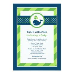 Baby Shower Invitation | Nautical Preppy Whale Invitation Card