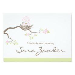 Baby Shower Invitation - Pink Baby Bird Invitation Card