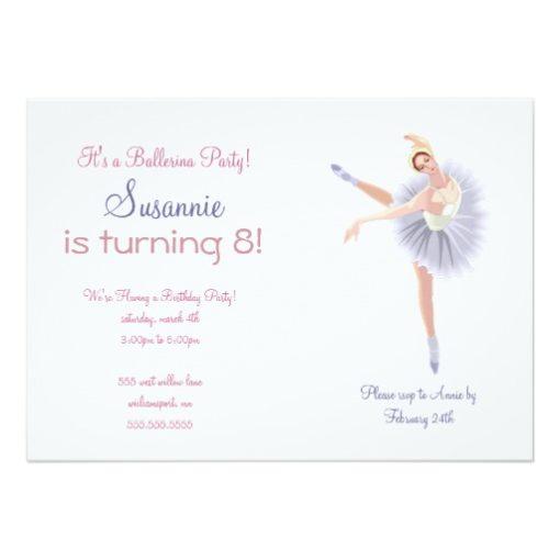 Ballerina Birthday Party Invitation Card