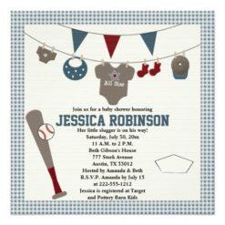 Baseball Themed Baby Shower Invitations Square Invitation Card