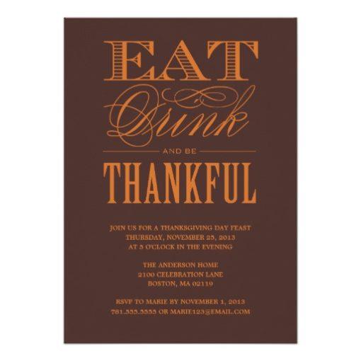 Be Thankful | Thanksgiving Dinner Invitation Card