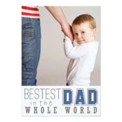 Bestest Dad Father'S Day Flat Photo Card / Blue Invitation Card