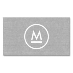 Big Initial Modern Monogram On Gray Linen Double-Sided Standard Business Cards (Pack Of 100)