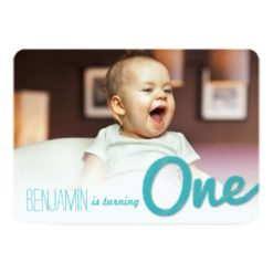 Big Sketch One Baby Boy First Birthday Party Invitation Card