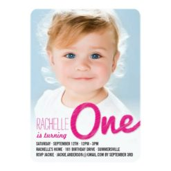 Big Sketch One Baby Girl First Birthday Party Invitation Card