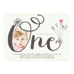 Big Whimsical One Baby Girl First Birthday Photo Invitation Card
