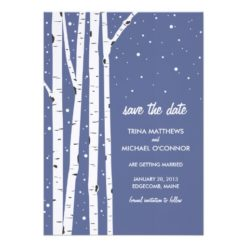 Birch Tree And Snow Save The Date Invitation Card