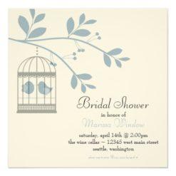 Birdcage And Love Birds Bridal Shower Light Blue Square Paper Invitation Card