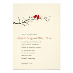 Birds Silhouettes Wedding Invitation - Red - Invitation Card