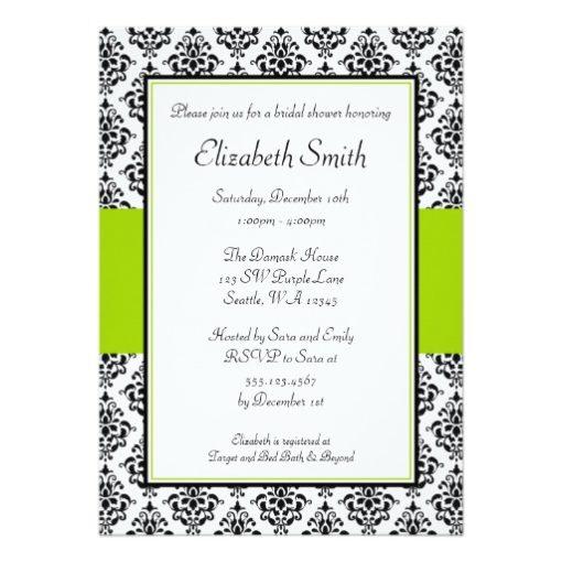 Black And Lime Green Damask Bridal Shower Invitation Card