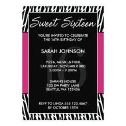 Black And Pink Zebra Pattern Sweet 16 Birthday Invitation Card