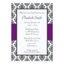 Black And Purple Damask Bridal Shower Invitation Card