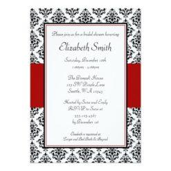 Black And Red Damask Bridal Shower Invitation Card