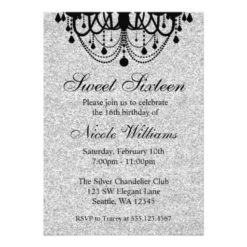 Black And Silver Chandelier Sweet 16 Birthday Invitation Card