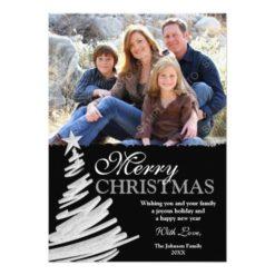 Black And Silver Christmas Tree Holiday Photo Card Invitation Card