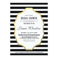 Black And White Striped Bridal Shower Invitation Card