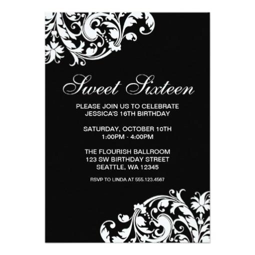 Black And White Swirl Flourish Sweet 16 Birthday Invitation Card