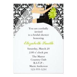 Black Damask Shower Invitation Card