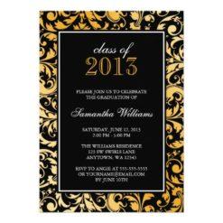 Black Gold Swirl Damask Graduation Announcement Invitation Card