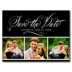 Black Photo Save The Date | Calligraphy Script Postcard