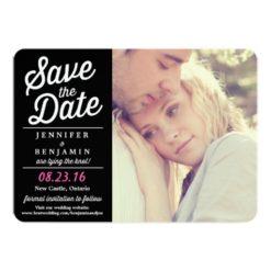 Black & Pink Retro Script Photo Save The Date Card Invitation Card