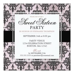 Black Pink Rose Damask Sweet 16 Party Invitations Square Invitation Card