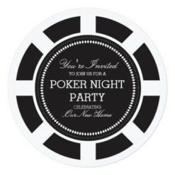 Black Poker Chip Game Night Party Invitation Square Invitation Card